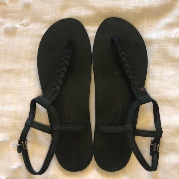 Rainbow Flip Flop Sandals Size 5.5-6.5 Girls Black T Street Braided Ankle Strap
